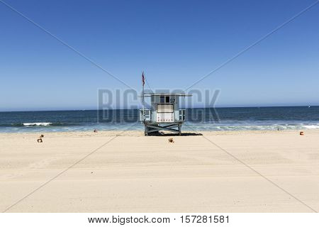 empty beach hut at empty beautiful beach in Redondo beach Los Angeles USA
