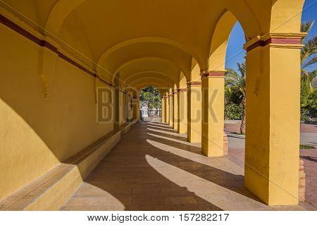 Corridor Of The Ermita De Santa Barbara Church In Moncada