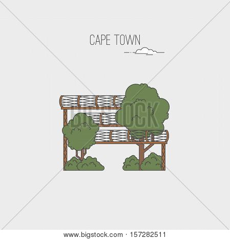 Kirstenbosch Botanical Gardens in Cape Town. Republic of South Africa country design template. Landmarks sightseeings showplaces symbols. Vector line cartoon style illustration.