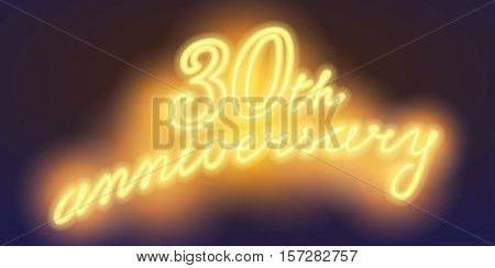 30 years anniversary vector illustration banner flyer logo icon symbol sign. Graphic design element with electric light font for 30th anniversary birthday card
