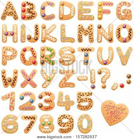 Christmas cookies alphabet - sweet letters and numbers.
