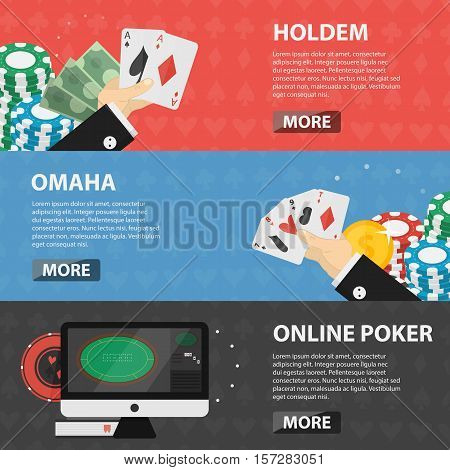 Vector flat horizontal banners of poker for websites. Business concept of gambling, casino marketing and game of chance. Set of poker elements.