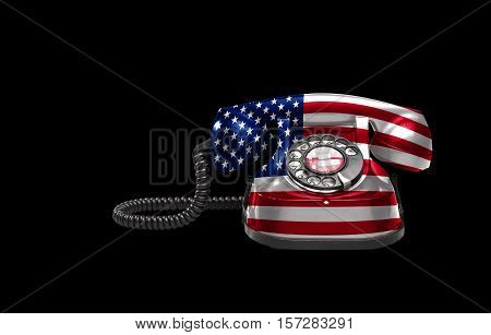 Old And Vintage Telephone With The Usa Flag