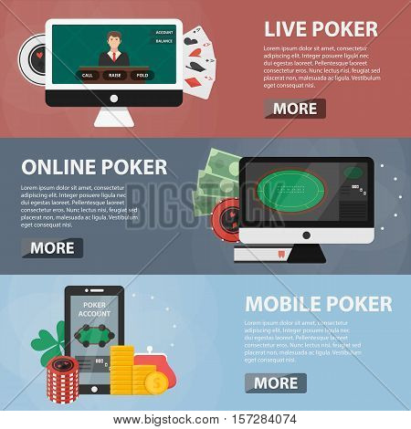 Vector flat horizontal banners of live, online and mobile poker for websites. Business concept of casino marketing, game of chance and gambling. Set of casino elements.