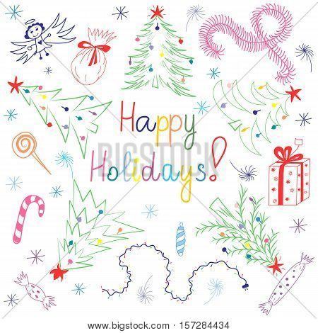 Happy Holiday! Colorful Children Drawings of Fir trees Arranged in a Circle. Funny Doodle Candies Garlands Gifts and Angel. Perfect for Festive Design. Vector Illustration.