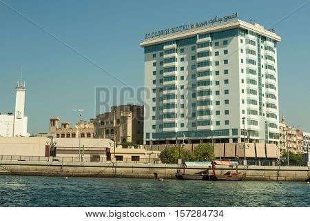 DUBAI UAE - NOVEMBER 10 2016: Hotel St.. George on old city Deira Dubai. The creek is divides the city into two main sections Deira and Bur Dubai old downtown of Dubai.