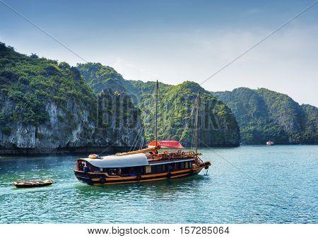 Tourist Boat In The Ha Long Bay, Vietnam