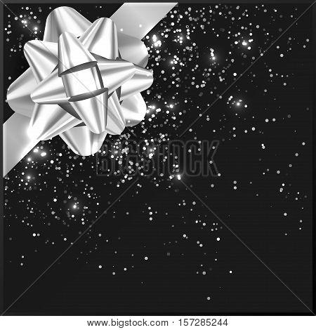Metallic Bow on gift box, confetti, tape vector illustration