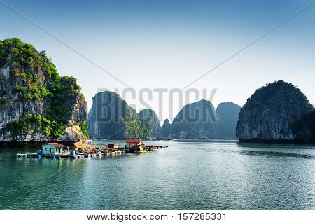 Scenic View Of Floating Fishing Village In The Ha Long Bay