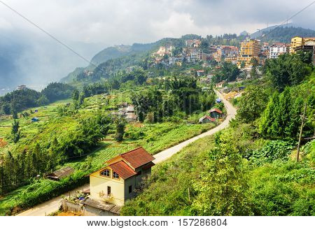 Bending Road In Sapa Town At Highlands Of Vietnam