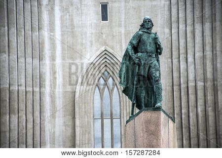 public Statue of Leif Eriksson in front of famous church Hallgrimskirkja Reykjavik in Iceland