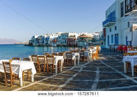 Mykonos Greece - October 15 2012: Chora village the open air restaurant in the Little Venice area