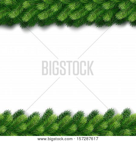 Detailed christmas garland of fir twigs for greeting card, showcase, banner, website, header. Vector illustration.