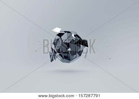 Abstract 3D background. Broken platonic with dynamic lines in space.