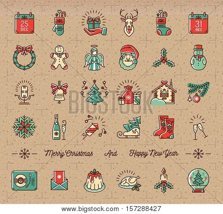 Mega Christmas icons set, New Year isolated symbols. Celebration party icons, Winter holiday thin line logo. Vintage retro style decorative symbols on kraft paper, cardboard. Trendy Vector design