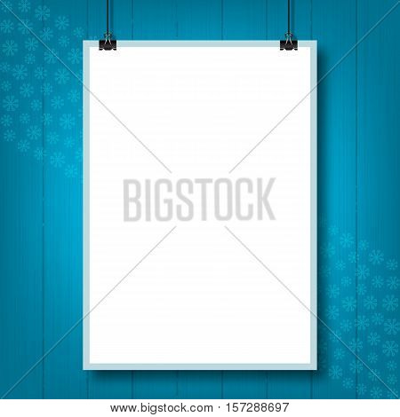 Mockup placard Christmas party. Mock up poster on the wall turquoise, winter background, snowflakes. Empty A4 sized paper frame mockup hanging with paper clip. Elements isolated, Vector illustration