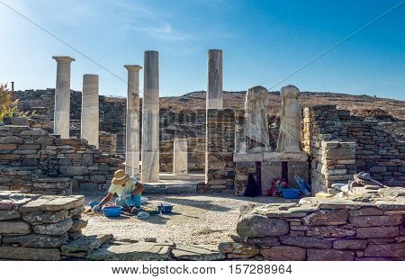 Delos Greece - October 17 2012: Archaeological site the columns of the Dionysus House
