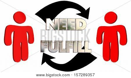 Fulfill Needs Customer Product Service Support Arrows 3d Illustration