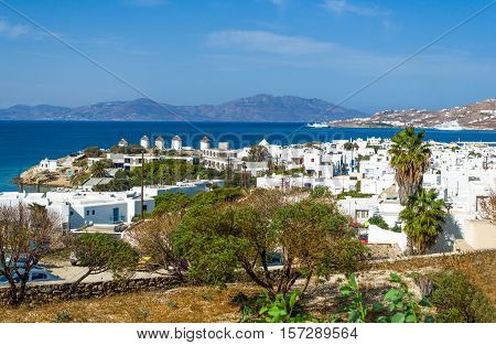 Greece Mykonos view from the hill of the Chora old town with the famous windmills