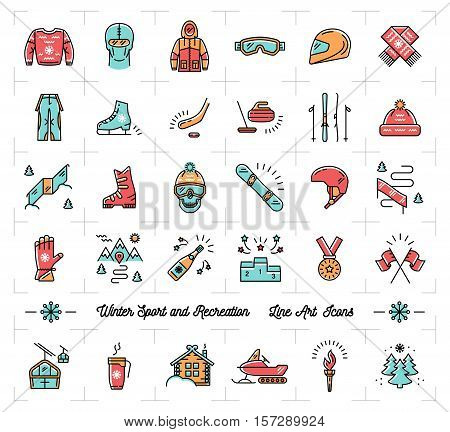 Colorful winter sport line icons set. Winter recreation and fun, ski, snowboard, snowboarding, ice skating, clothes, winter landscape outline symbols. Trendy vector illustration