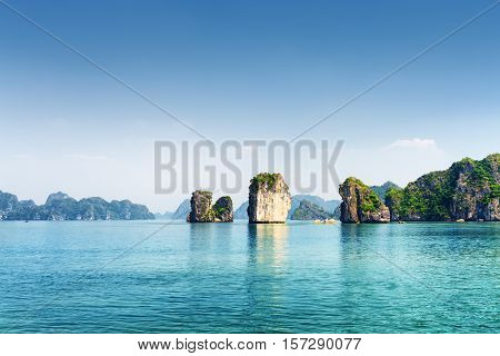 Azure Water Of The Ha Long Bay. The South China Sea, Vietnam