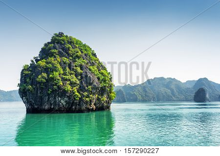 Scenic Karst Isle On Blue Sky Background In The Ha Long Bay
