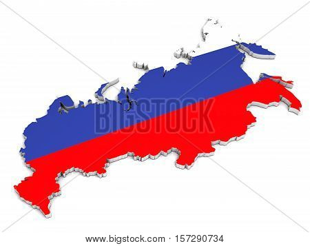 3D map of Russian Federation on a simple background with high-resolution