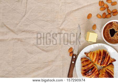 Fresh Homemade Unfilled Croissants For Breakfast