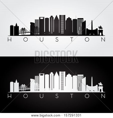 Houston USA skyline and landmarks silhouette black and white design vector illustration.