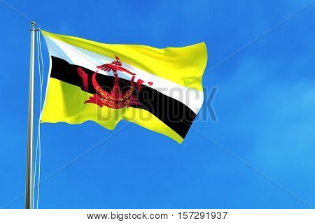 Flag of brunei (Brunei Darussalam) on the blue sky background. 3D illustration