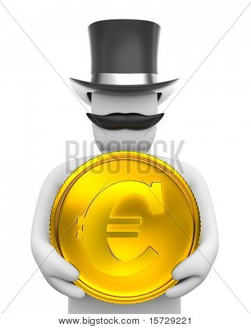 Gentleman and eur coin. Riches concept