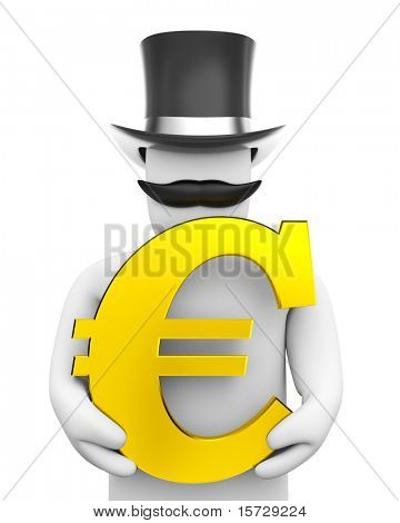 Man and euro sign