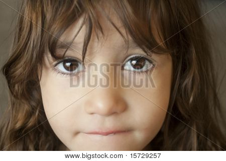 Hispanic girl gazing