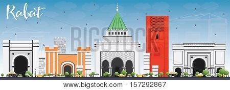Rabat Skyline with Gray Buildings and Blue Sky. Business Travel and Tourism Concept with Historic Architecture. Image for Presentation Banner Placard and Web Site.