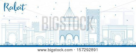 Outline Rabat Skyline with Blue Buildings. Business Travel and Tourism Concept with Historic Architecture. Image for Presentation Banner Placard and Web Site.