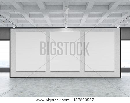 Front view of three large vertical posters situated on a gray wall in a gallery. Concept of modern art and marketing. 3d rendering. Mock up