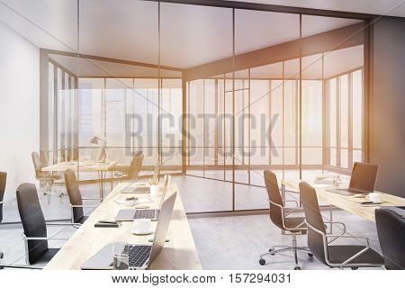 Office With Rows Of Tables And Ceo Study, Toned