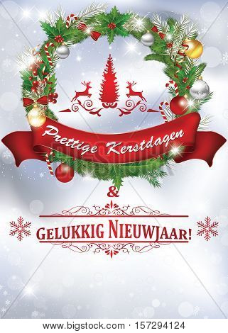 Merry Christmas and Happy New Year - Dutch language: Fijne Kerstdagen an Gelukkig Nieuwjaar! - elegant  greeting card for winter holiday. Print colors used. Custom size of a print postcard