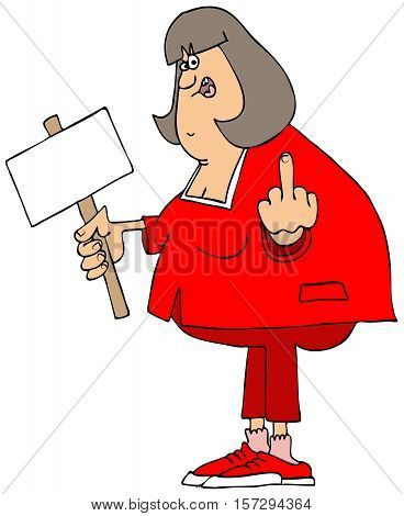 Illustration of a chubby, angry woman protester holding a sign and flipping the bird.