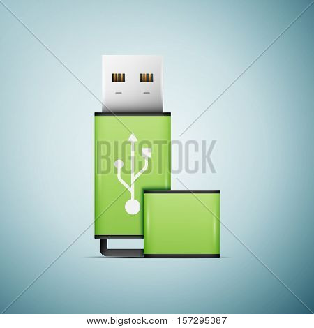 Green USB flash drive icon isolated on blue background. Vector Illustration