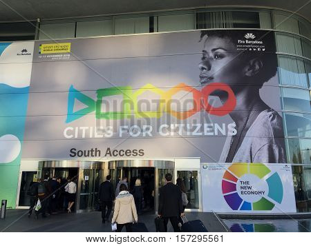 BARCELONA SPAIN - November 16 2016: outdoor entrance of Smart City Event World Congress on November 16 2016. Day 2 of the 3 day event showing people arriving at the show.