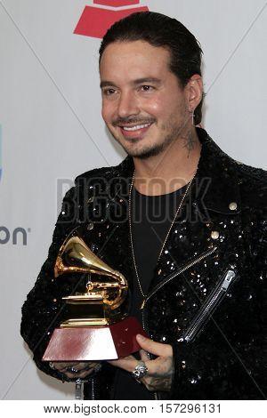 LAS VEGAS - NOV 17:  J Balvin at the 17th Annual Latin Grammy Awards Press Room at T-Mobile Arena on November 17, 2016 in Las Vegas, NV