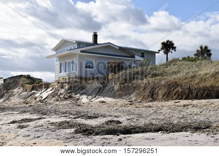 VILANO BEACH, FLORIDA, USA - NOVEMBER 6, 2016: Aftermath of beach house damage caused by hurricane Matthew hitting along the east coast of Florida on October 7, 2016