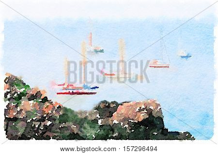Digital watercolor painting of sailboats at anchor off an island. Taken from the cliffs on the shore. Space for text.