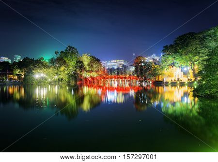 Night View Of The Huc Bridge On The Sword Lake, Hanoi, Vietnam