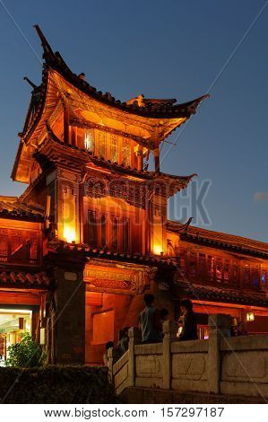 Night View Of Traditional Chinese Wooden Building, Lijiang