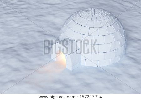 Eskimo house igloo icehouse with warm light inside made with snow at night on the surface of snow field aerial view 3d illustration