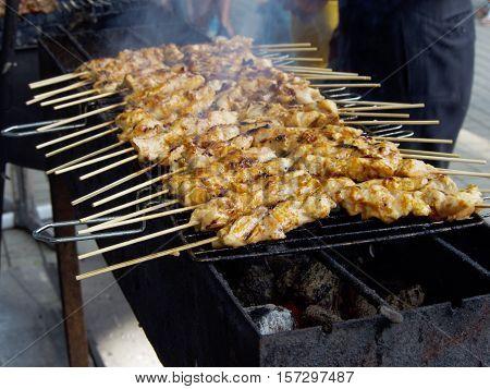 Shish kebab or shashlik on the grill