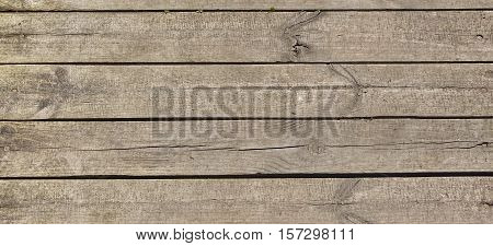 Barn Wooden Wall Planking Texture. Wide Grey Wood Banner Background