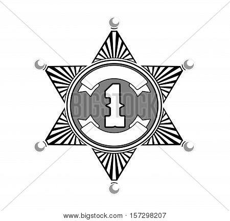 silver metallic sheriff badge star with six corners